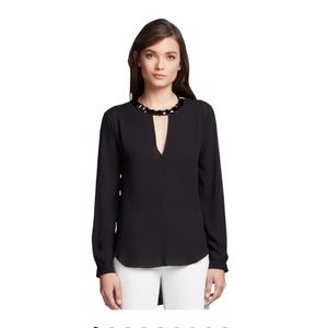BCBG Black Frances Jewel Neck Blouse
